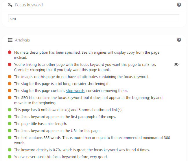 Yoast SEO Example and Recommendations