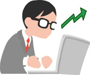 Guy on computer, clipart
